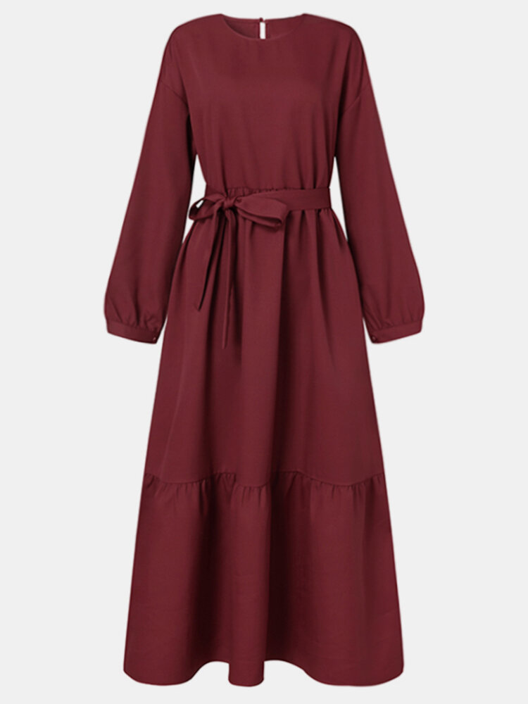 Solid Color Waistband O-neck Long Sleeve Casual Dress for Women
