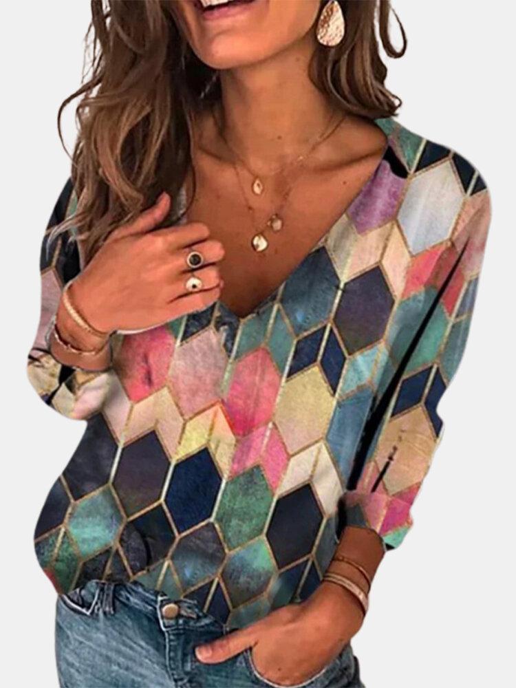 Women Geometry Print Patchwork V-neck Long Sleeve Casual T-Shirt