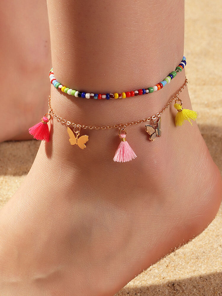 Bohemian Mixed Color Bead Anklet Temperament Butterfly Cotton Thread Tassel Anklet