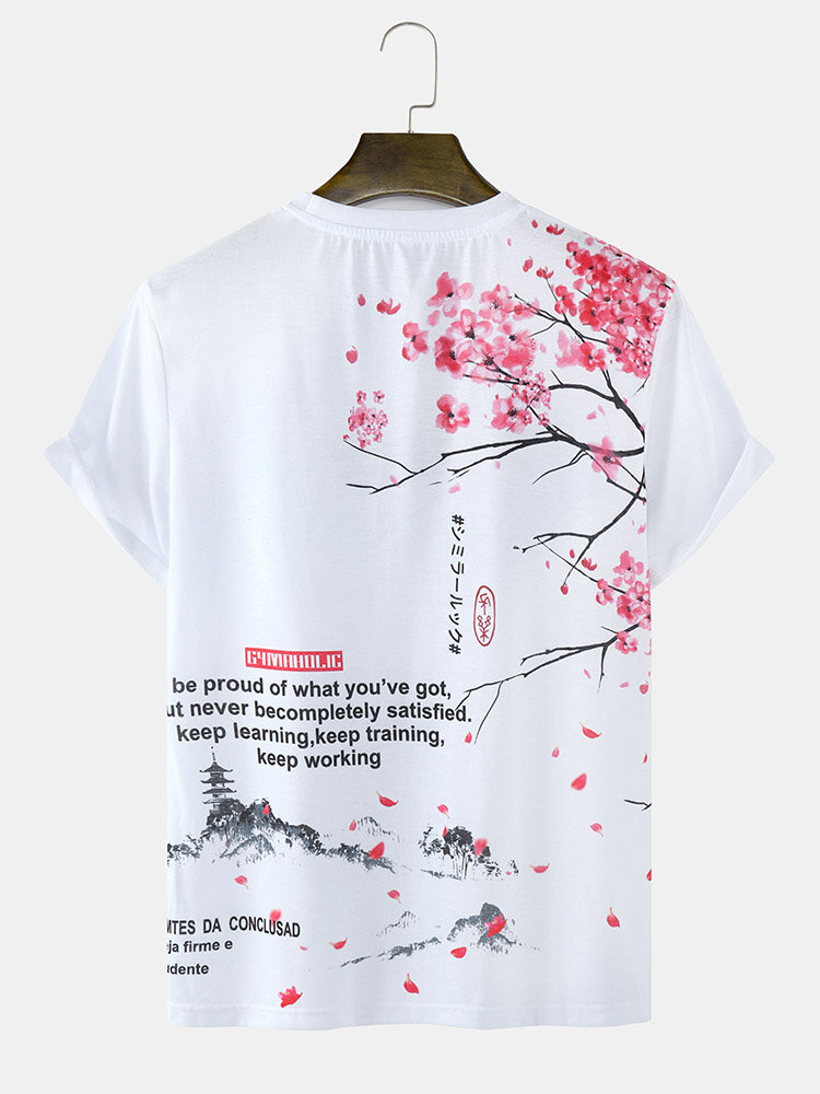 Mens Cherry Blossoms Text Back Print Japanese Style Short Sleeve T-Shirts