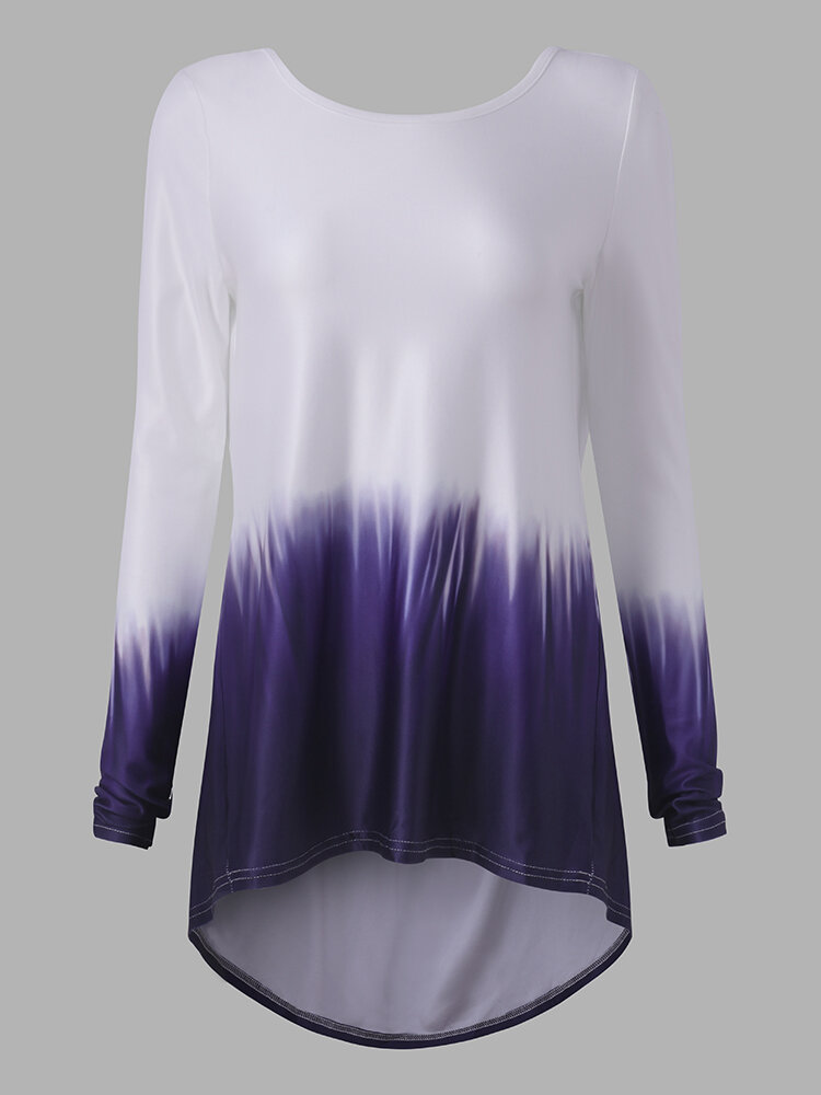 Women Casual Gradient Backless Long Sleeves T-shirt