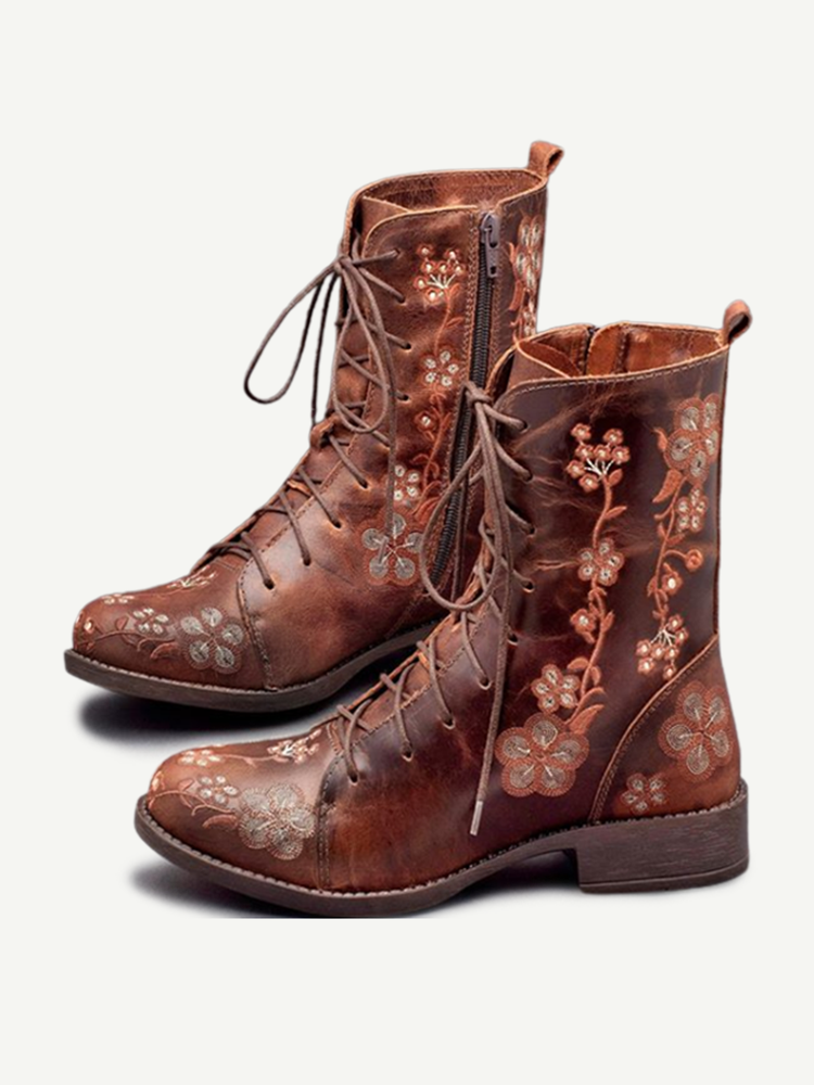 LOSTISY Women Retro Flowers Embroidered Leather Strappy Zipper Block Heel Mid Calf Boots
