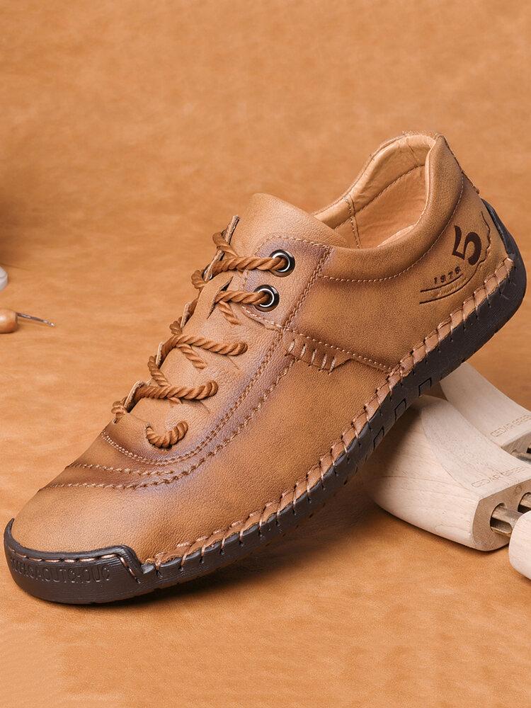 حذاء كاجوال رجالي من الجلد المصنوع من الألياف الدقيقة وخياطة يدوية غير زلة Soft
