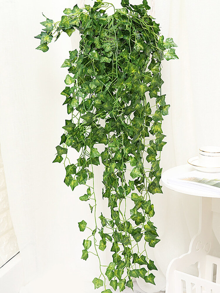 Artificial Greenery Fake Simulation Rattan Leaf Plant Wall Hanging Wedding Party Garden Wall Decor Home Decor