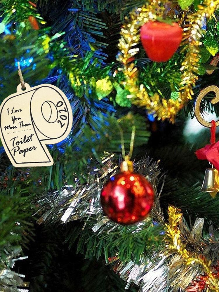 10Pcs Wooden Memorial Toilet Paper Pendant DIY Hanging Window Ornaments Christmas Ornaments Party Home Decoration