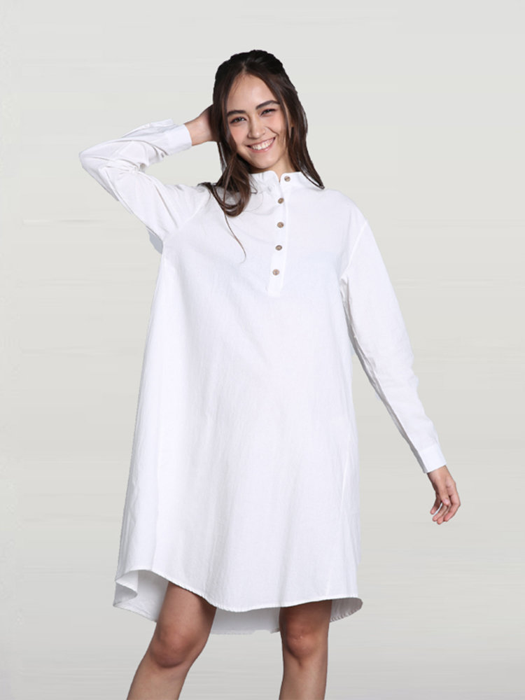 Casual Solid Stand Collar High Low Shirt Dress For Women