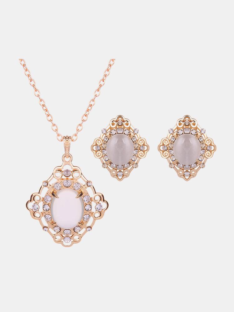 Luxury Jewelry Set Rhinestone Opal Necklace Earrings Set