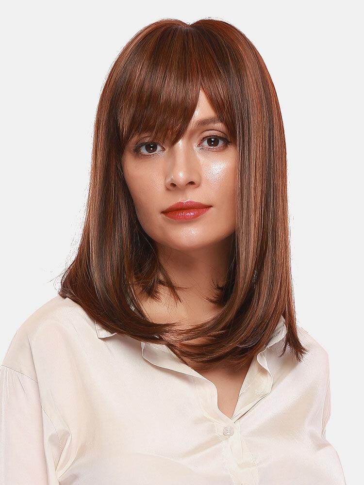 16 Inch Mixed Real Human Hair Medium Long Hair Intellectual Elegant Bangs Deep Chestnut Long Hair Wig
