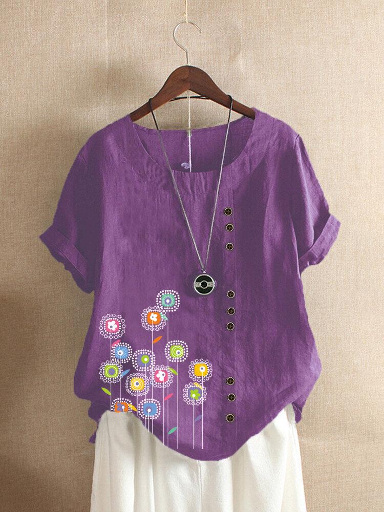 Flowers Print Button Short Sleeve Plus Size T-shirt for Women