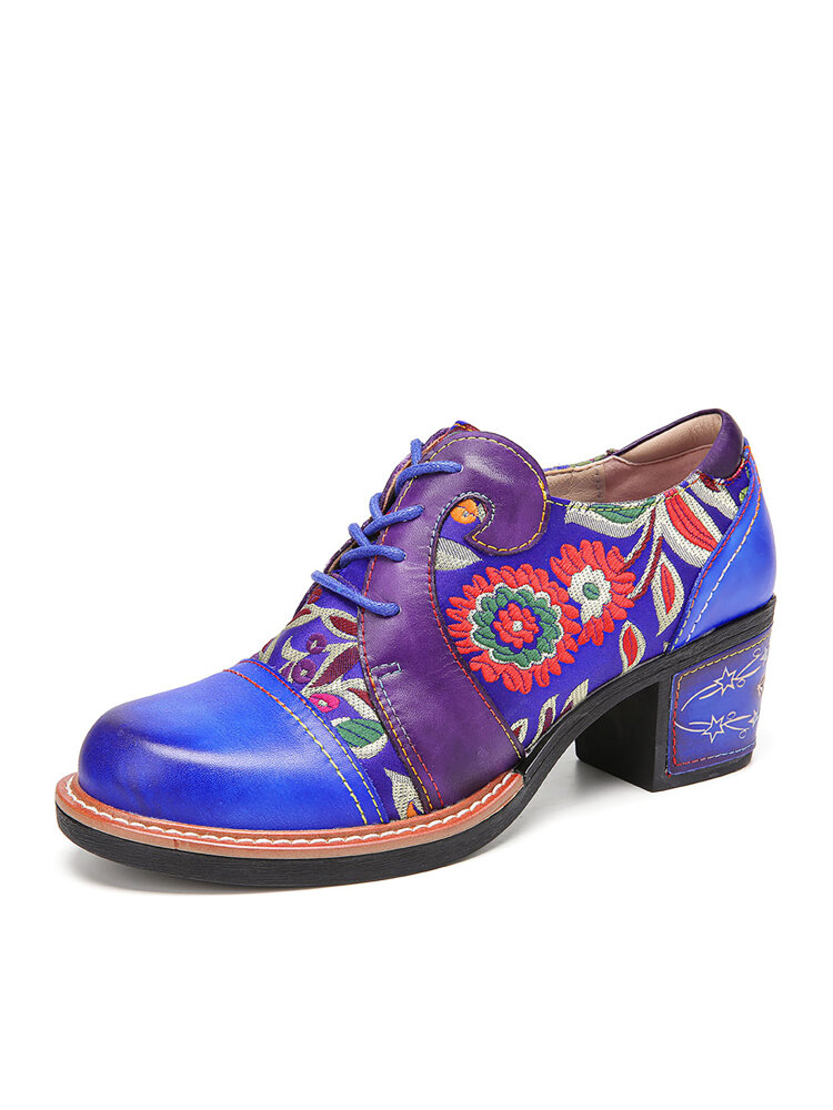 SOCOFY Floral Embroidery Genuine Leather Round Toe Comfy Wearable Lace-up Casual Heels Shoes