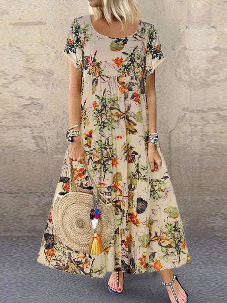ヴィンテージ花柄プリント半袖オーバーヘッドマキシドレス