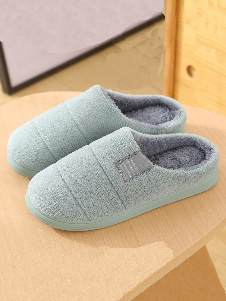 Women House Solid Color Fur Flats Home Slippers