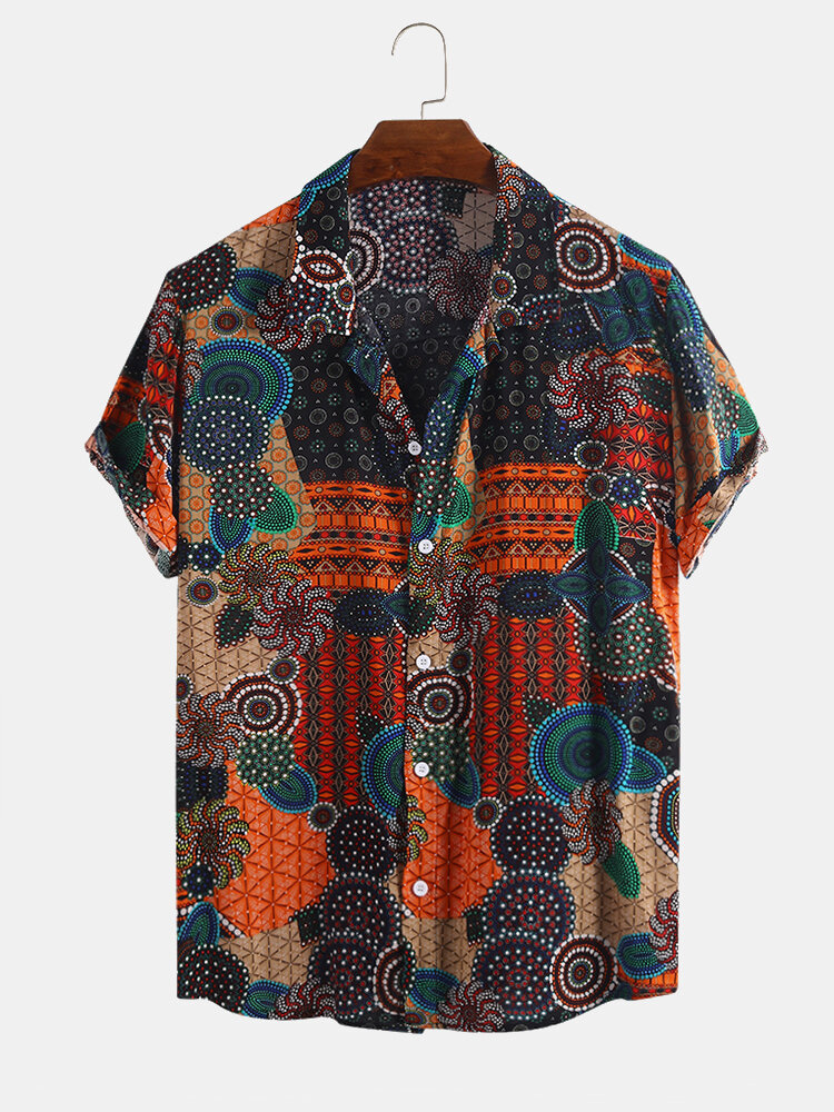 Mens Ethnic Style Summer Thin Short Sleeve Printing Loose Casual Shirt