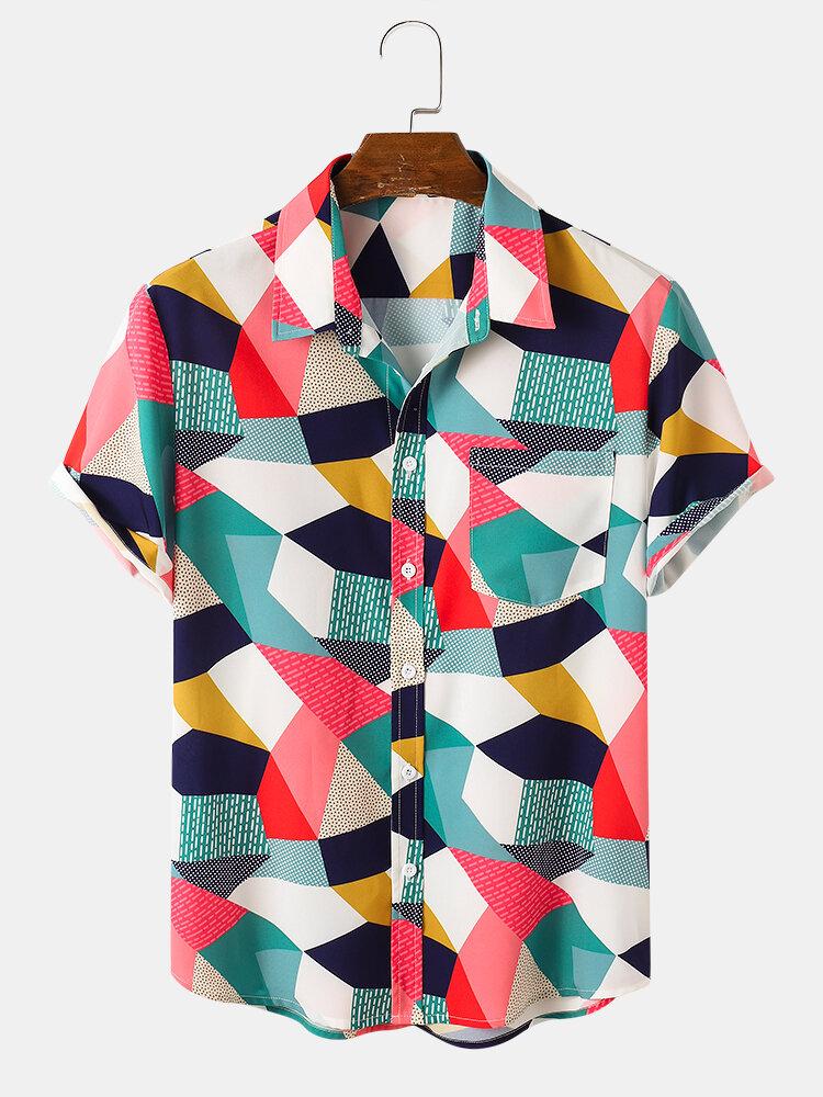 Designer Mens Colorful Mixed Colorblock Lapel Holiday Short Sleeve Hawaiian Shirts