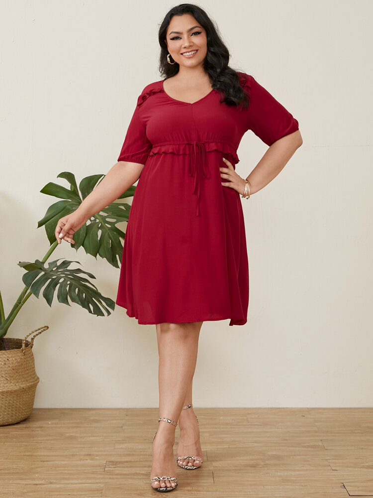 Solid Color Drawstring V-neck Half Sleeve Ruffled Plus Size Casual Dress