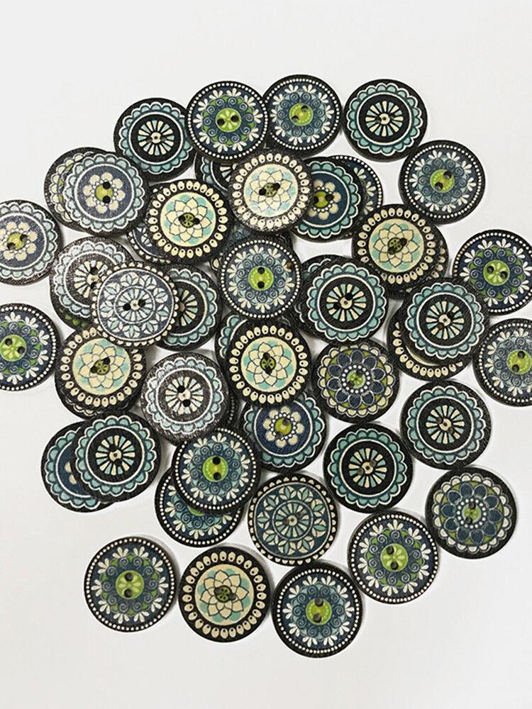100 pcs Plain Pattern Wooden Round Button Blue Printed Minority Ethnic Style Pattern Decorative Buttons