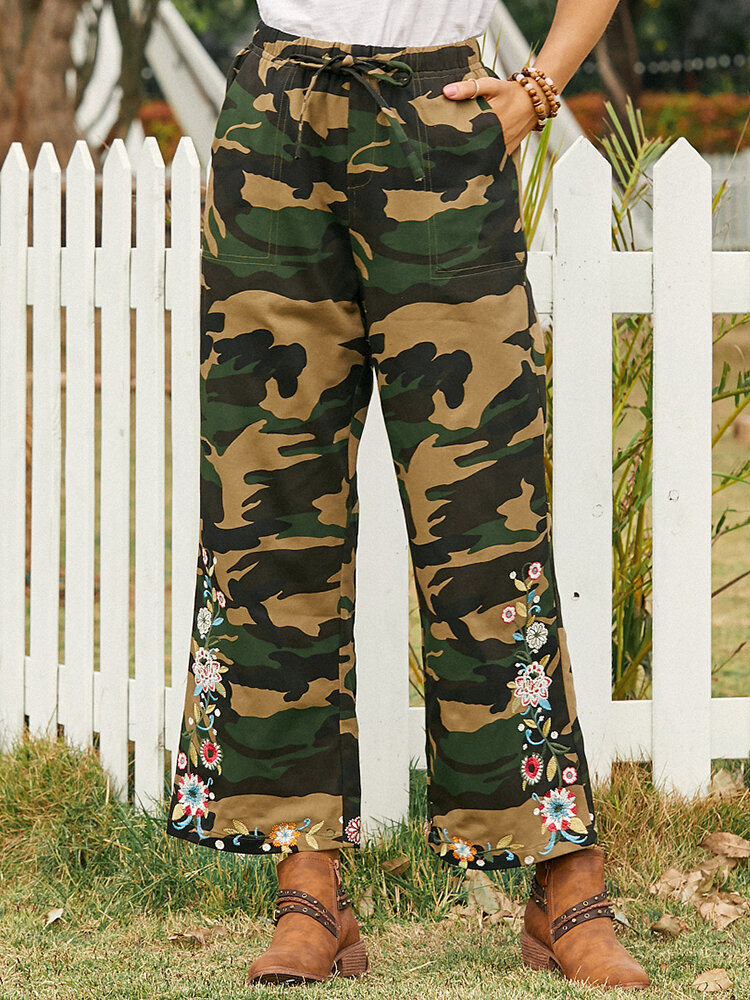 Camouflage Print Floral Embroidered Drawstring Pocket Long Casual Pants