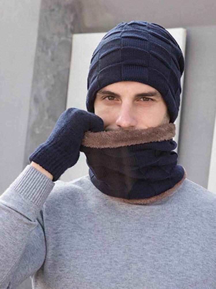 Men 2/3PCS Plus Velvet Keep Warm Winter Neck Protection Headgear Scarf Full-finger Gloves Knitted Hat Beanie