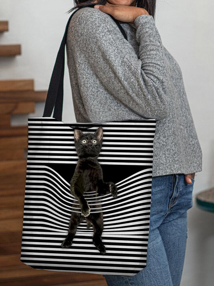 महिलाओं ने कैट स्ट्राइप हैंडबैग शोल्डर बैग टोटे को पसंद किया