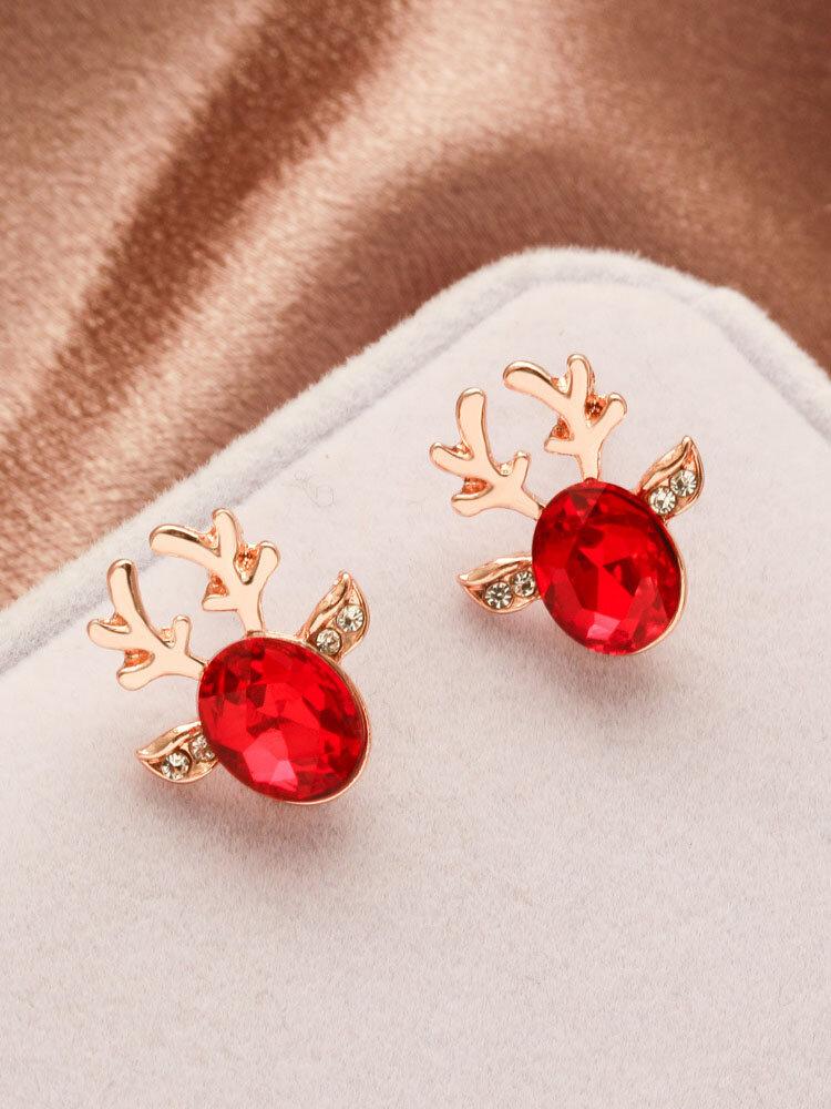 Christmas Crystal Gem Women Ear Stud Stereoscopic Reindeer Earrings