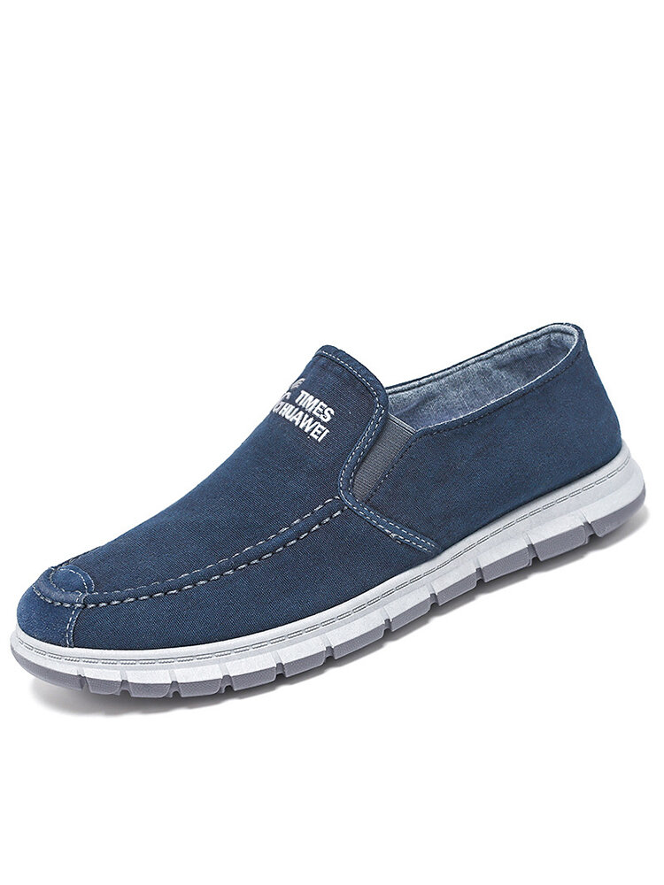 Men Letter Pattern Elastic Band Soft Comfy Slip-On Stitching Loafers Shoes