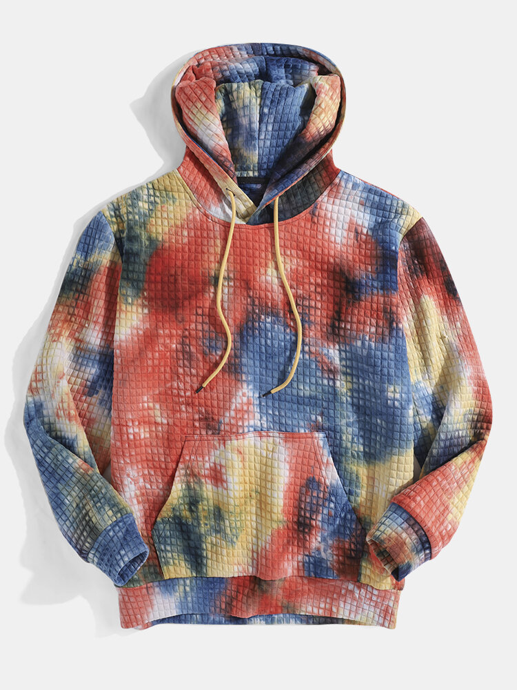 Mens Multi-Color Tie-Dye Casual Waffle Pullover Hoodie With Kangaroo Pocket