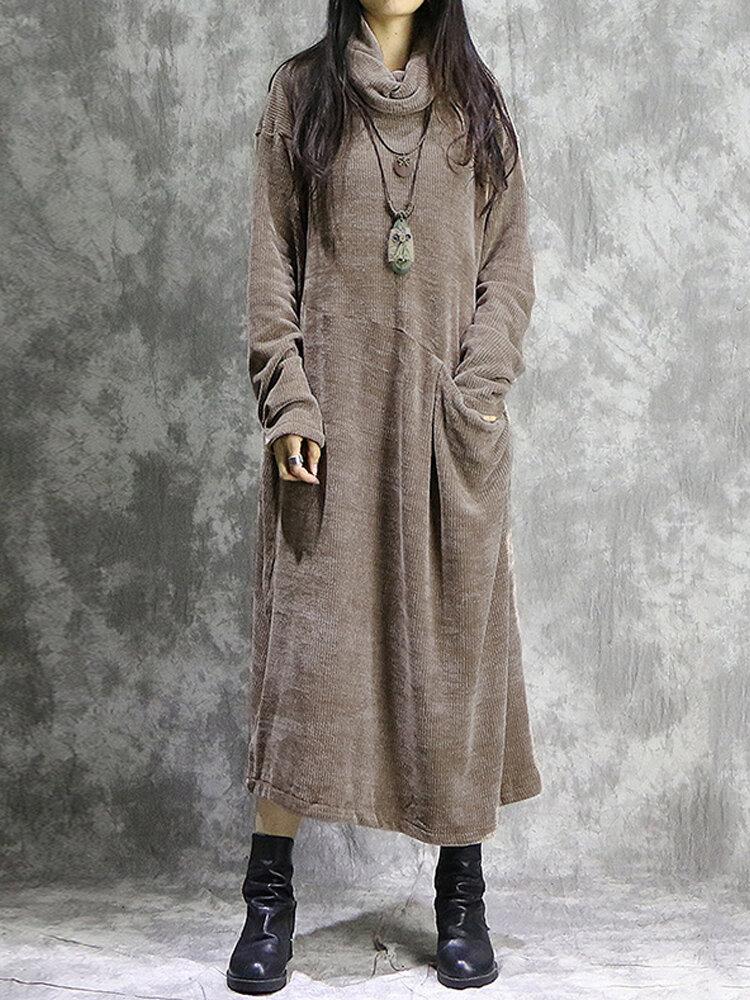 Vintage Corduroy Pocket Long Sleeve Casual Midi Dress