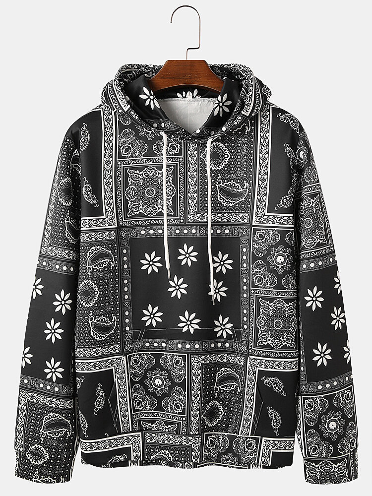 Mens Allover Ethnic Paisley Print Loose Pouch Pocket Drawstring Hoodies