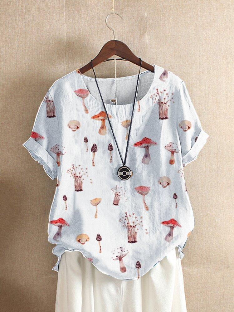 T-shirt ample à manches courtes et imprimé champignon pour femme
