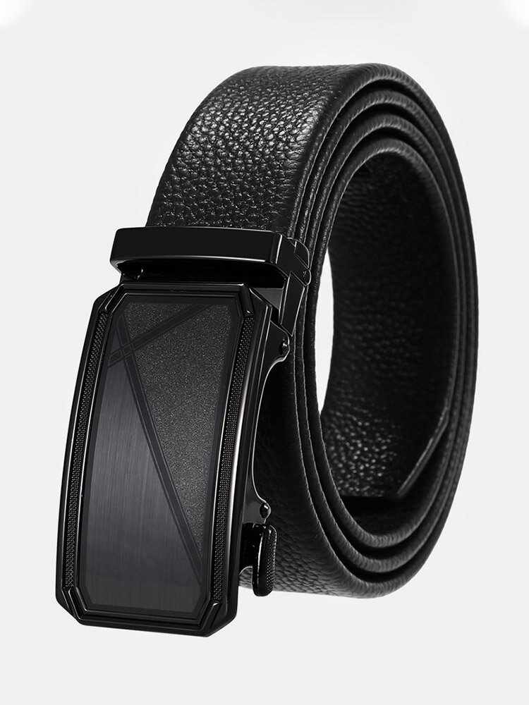 Men Cow Leather Rectangular Alloy Automatic Buckle Casual Business Belt