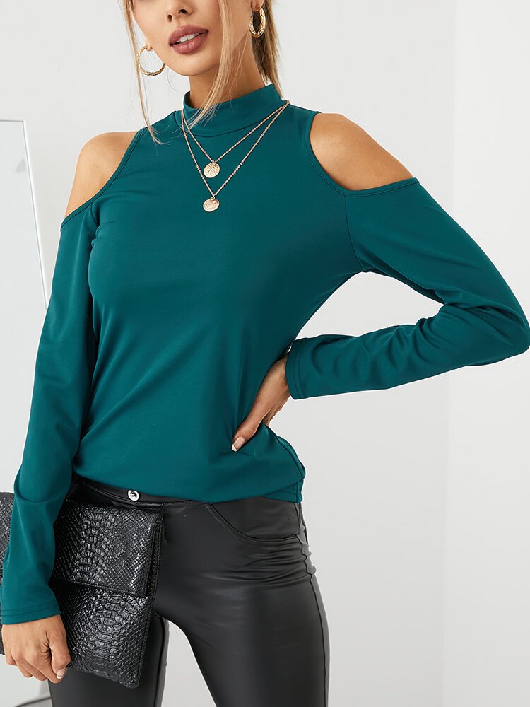 Solid Color Off Shoulder Long Sleeve Casual Blouse For Women
