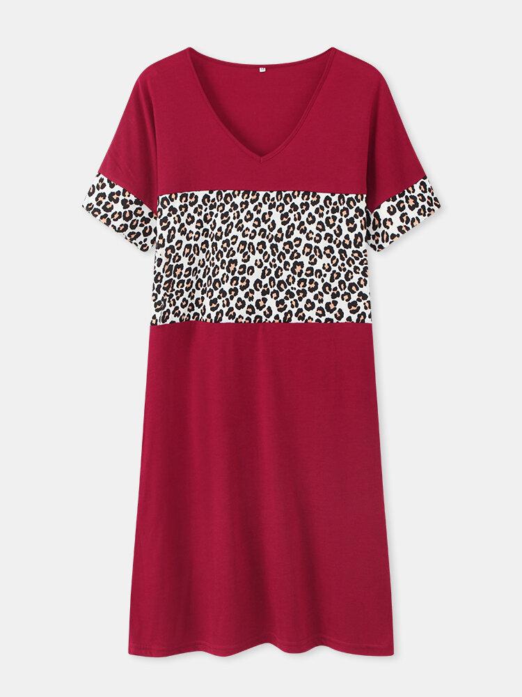 Leopard Print Patchwork O-neck Short Sleeve Plus Size Dress for Women