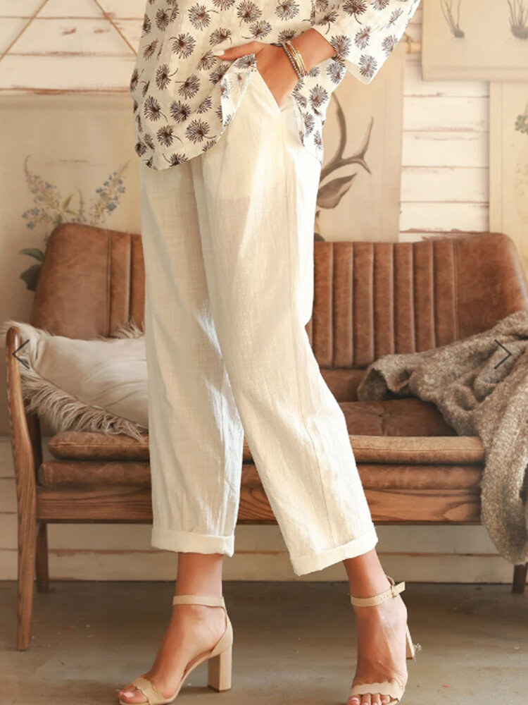 Summer Solid Casual Shift Solid Pants With Pocket For Women