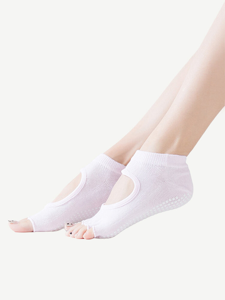 Women Yoga Ballet Dance Sports Five Toe Anti-slip Cotton Socks