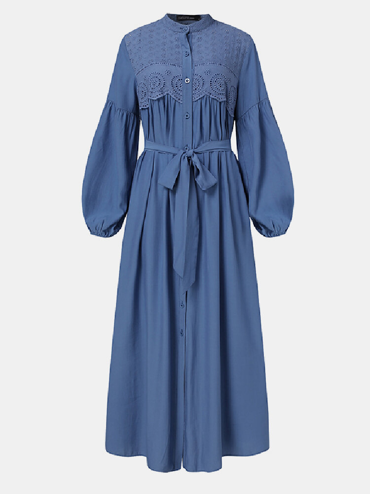 Ethnic Lace Patchwork Button Knotted Puff Sleeve Maxi Dress For Women