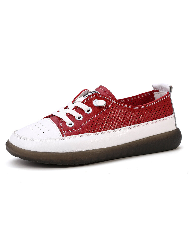 Women's Outdoor Breathable Splicing Flat Lace-up Anti-slip Sneakers