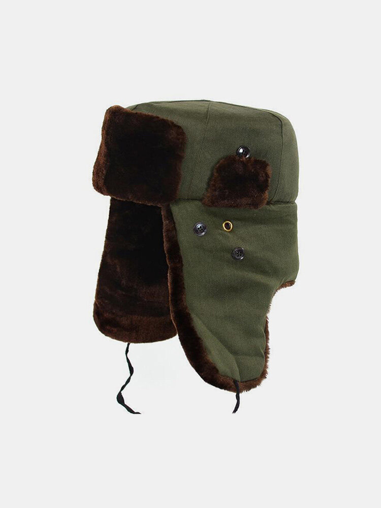 Men Cotton Plush Solid Windproof Thicken Ear Protection Cold-proof Trapper Hat