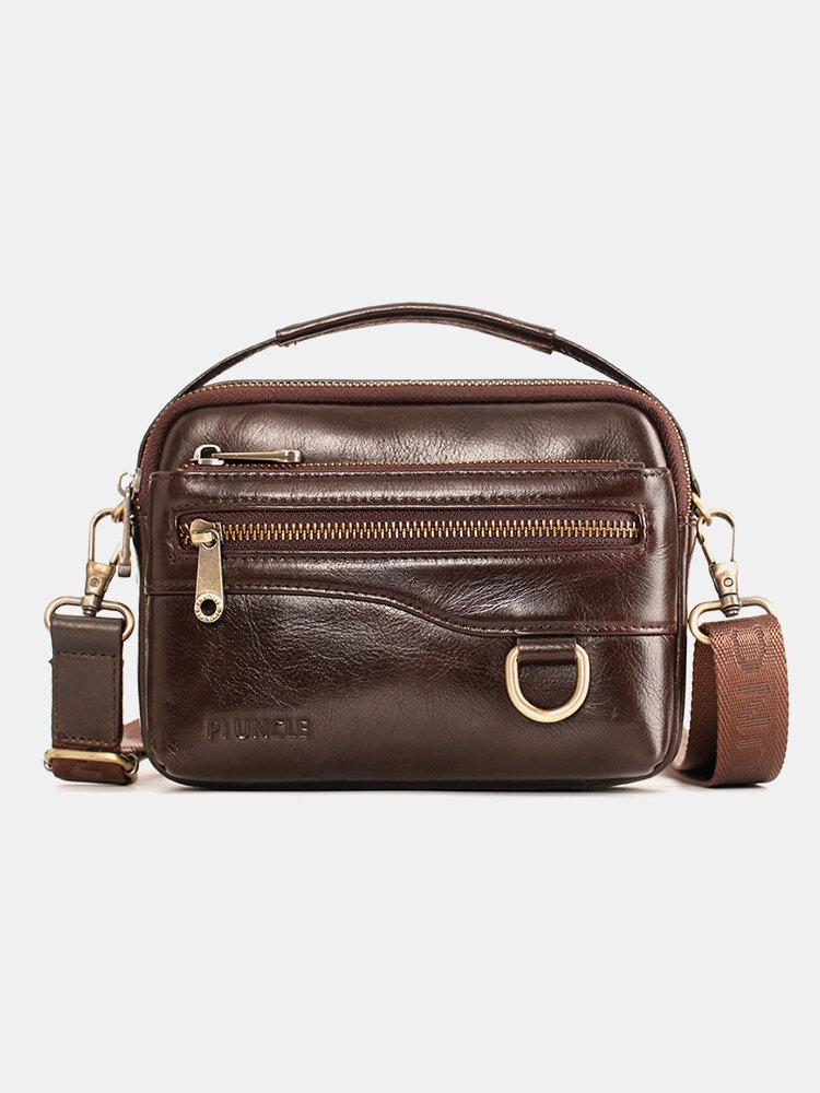 पुरुषों असली लेदर मल्टीफ़ंक्शन मल्टी-कैरी 6.5 इंच फोन बैग क्रॉसबॉडी बैग कमर बैग