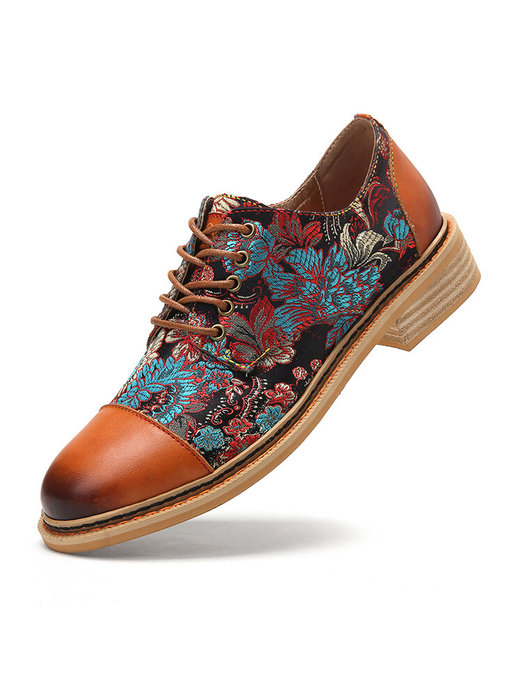 SOCOFY Cap Toe Leather Splicing Prosperous Flowers Cloth Comfy Wearable Lace Up Women Flat Casual Shoes Oxfords Shoes