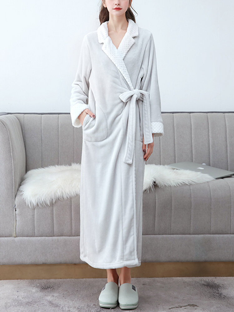 Women Flannel Lapel Thicken Warm Long Sleeve Belted Robes With Pockets