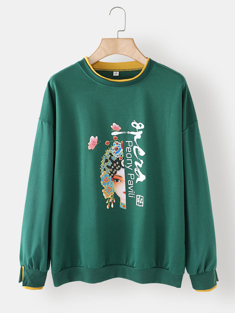 Women Calico Letters Print Patchwork O-neck Casual Sweatshirt