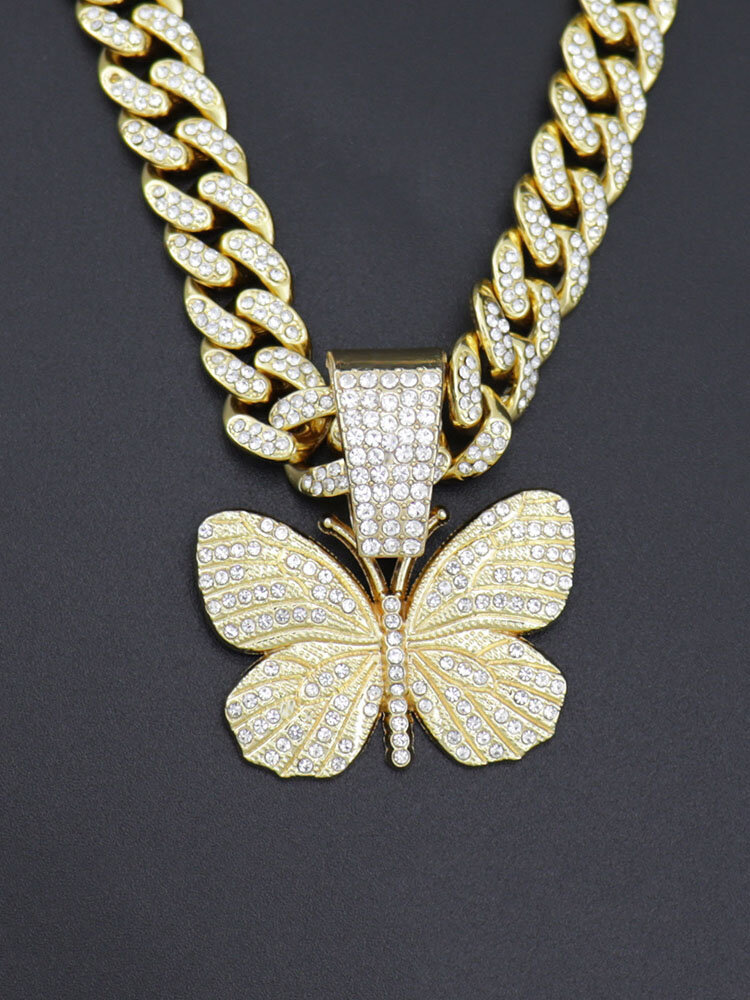Hiphop Insect Butterfly Necklace Full Diamond Cuban Men's Necklace
