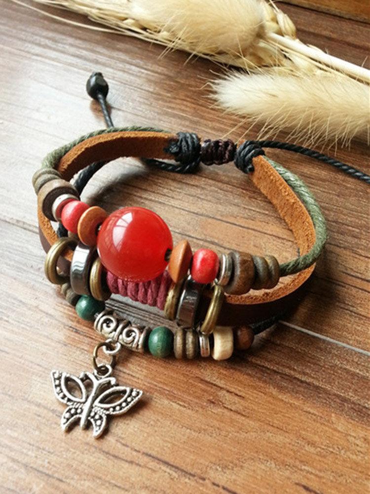 Vintage Wild Multi-Layer Cowhide Rope Women Bracelet Star Pendant Leather Bracelet