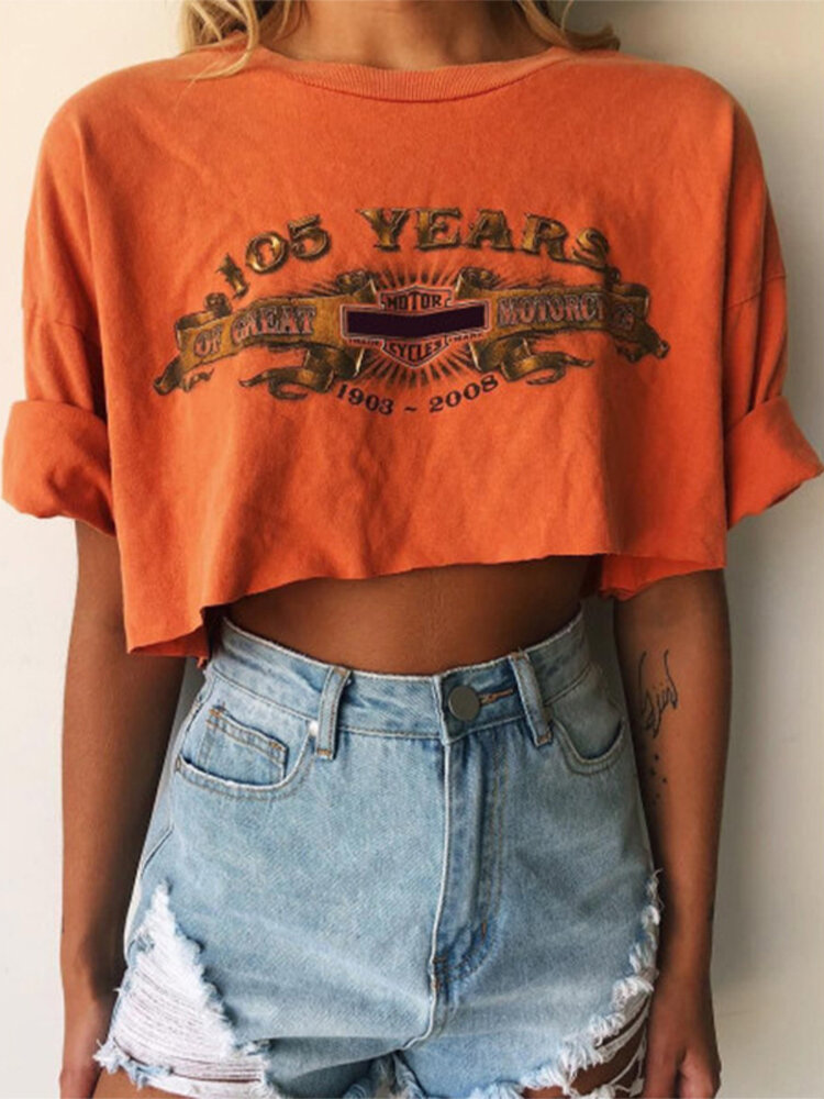 Letters Printed O-Neck Short Sleeve Casual Crop Top