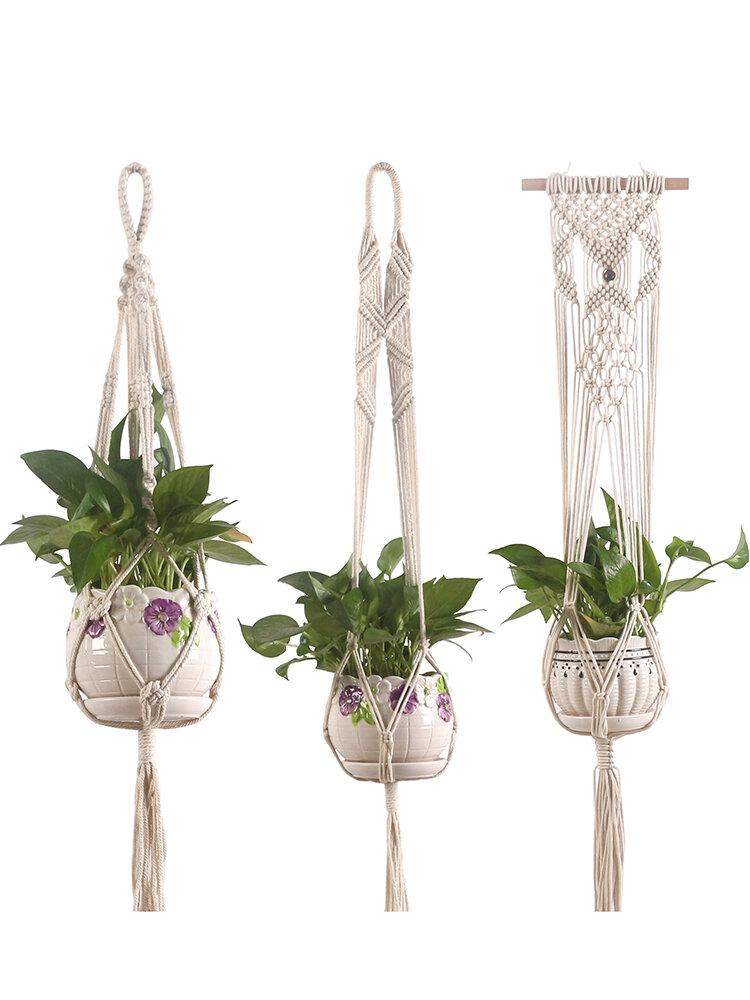 Macramé Planta Perchas hechas a mano para colgar en la pared interior Plantaer Planta Soporte Modern Home Diseño