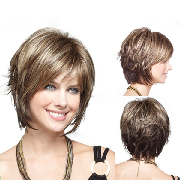 Stylish Highlight Synthetic Wig Natural Curly Hair Capless Side Bang Wig