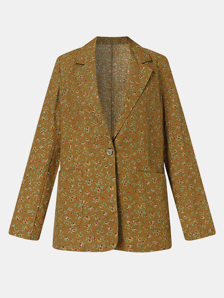 Floral Print Button Long Sleeve Casual Jacket Coat for Women