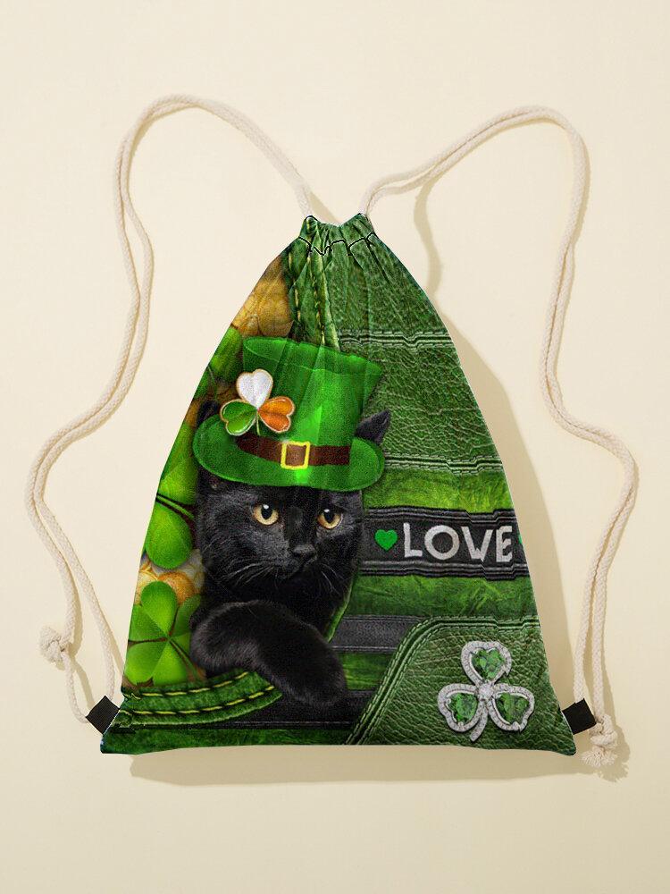 Women Green Clover Hat Pattern Happy St Patrick Day Pattern Print Drawstring Bag Backpack