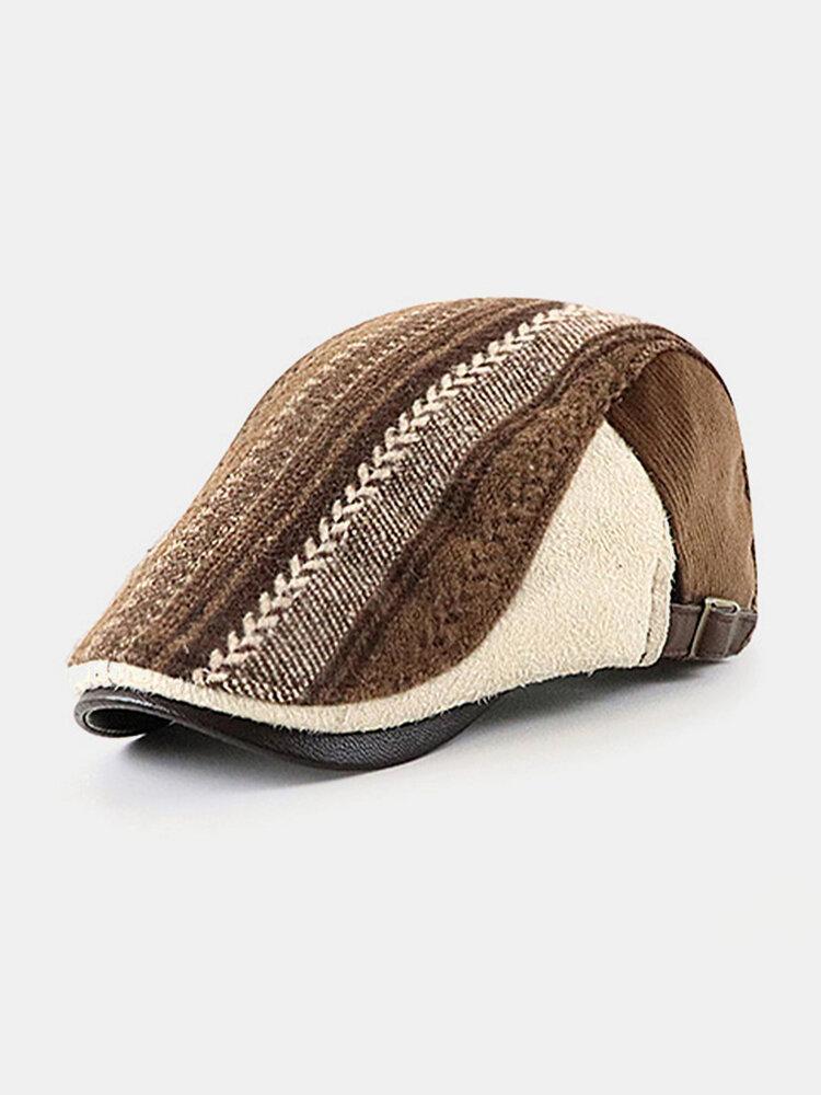 Men British Style Retro Stripe Pattern Casual Keep Warm Forward Hat Beret Hat