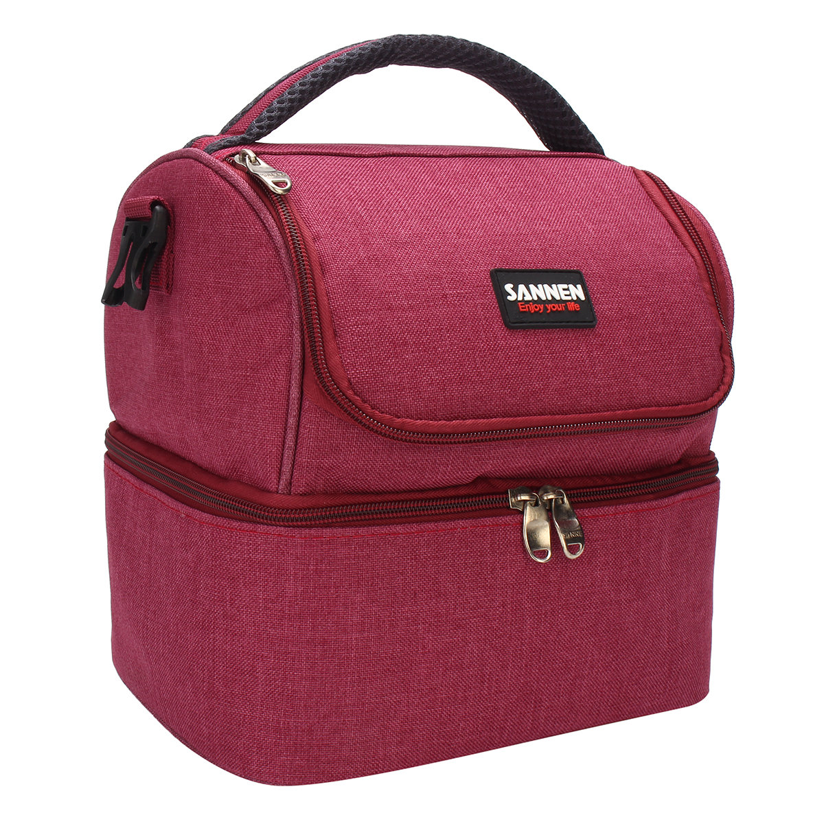 Isolado Double Decker Cooler Lunch Bag Com Alça De Ombro Removível Saco De Piquenique Tote Bolsa